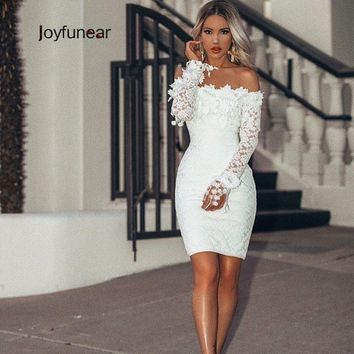Joyfunear 2019 Embroidery Lace White Dress Women Bodycon Party Sexy Dresses Petal Sleeve Transparent Mini Elegant Dress Vestidos