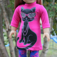 2 piece set! pink cool cat  top, black top and  floral leggings  , 18 inch doll clothes, American girl, Maplelea
