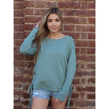 Lace Me Up Top | Sage
