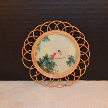 Bird Round Picture Vintage Bird Scene Wall Hanging Wicker Frame Paper Picture Bird Collector Coaster Cottage Chic Decor Shabby Chic Decor