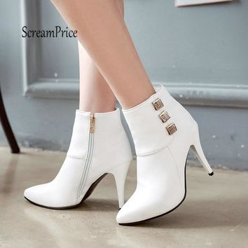 Women Sexy Thin High Heel Ankle Boots Fashion Side Zipper Spring Fall Women Shoes White Black