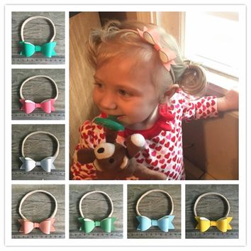 5pcs/lot 26color children Girls Handmade Leather Bow Headbands With Elastic Nylon Hair Band For Hair Accessories cute hairwear