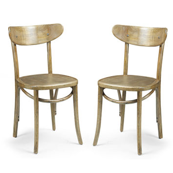 Elm Wood Simple Vintage-Style Dining Chair with Horizontal Scoop Back (Set of two)
