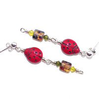 Ladybug Earrings – Earthy Czech Glass Sterling Silver Post Drop Earrings – Bug Jewelry – Fun Gift for Her