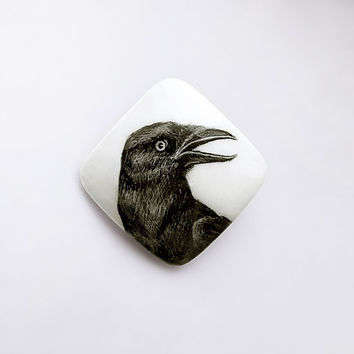 Animal Brooch Black Raven, crow jewelry, animal bird jewelry, woodland, black and white, miniature hand painting, square pin hare