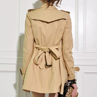 Double-breasted Slim Khaki Trench Coat(Coming Soon) [NCSOS0175] - $136.99 :