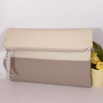 Beige foldover leather clutch, Evening clutch bag, wedding clutch for bride, beige leather purse, gift for bridesmaids, wedding clutch bag