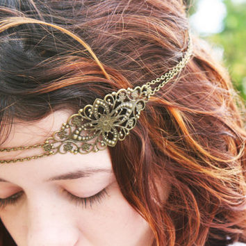 Chain Headpiece Headband  Bohemian Hipster Boho Hippie Bronze Floral Long Centerpiece Bridal Statement Jewelry