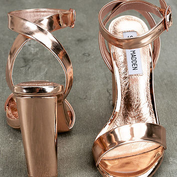 Steve Madden Treasure Rose Gold Leather Ankle Strap Heels