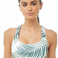 Medium Impact - Palm Leaf Print Sports Bra