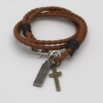 Christian Leather Bracelet with Cross and Bible Verse