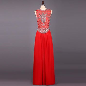 Chiffon Halter Sleeveless Formal Dresses Long Crystals Beaded Women Evening Dresses High Neck