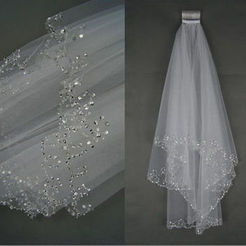Tidetells  Romantic Charming White Beaded Edge Two-Layer Soft Tullle Wedding Accessory Wedding Veils TT514 = 1932272964