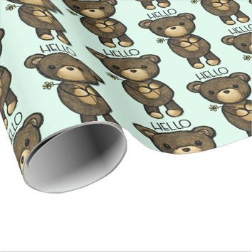 Cute Brown Bear Holding a Yellow Flower Wrapping Paper