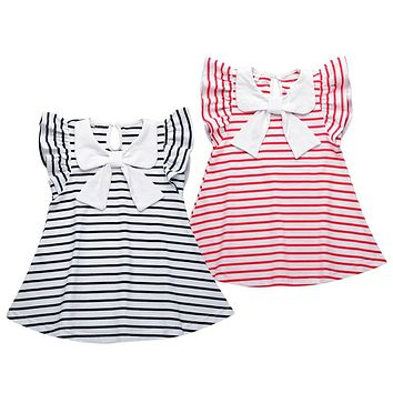 Baby Girl Striped Dress 2017 New Brand Princess Bow Toddler Girls Dresses Summer Sleeveless Baby Kids Cotton Clothing