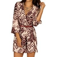 Promo-burgundy Tribal Print Belt Tunic