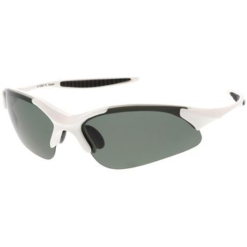 Sports TR-90 Semi-Rimless Wrap Sunglasses Slim Arms Polarized Lens 68mm