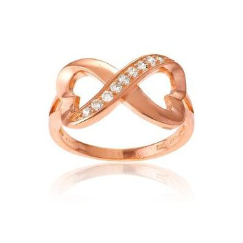 Rose Gold Infinite Hearts Ring, Clear CZ