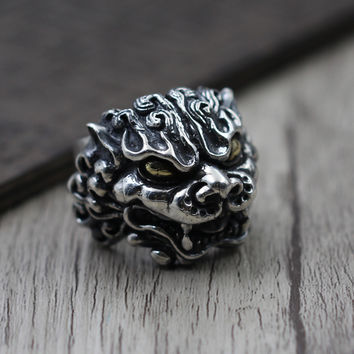 Men's Thai Silver Carved Tang Lion Personality Exaggerated Ring S925 Sterling Silver Retro Ring Brass Golden Eye Brave