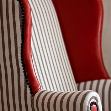 Comfortable and Fabulous Pin-Stripe and Red Hot Leather Wingback Chair with Original Eagle Claw and Ball Feet