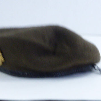 Vintage  Dutch  Brown Wool Military Beret, with Dutch Military Insignia Pin  Size 55, Small  Costume Hat, Re-Enactment  GQ