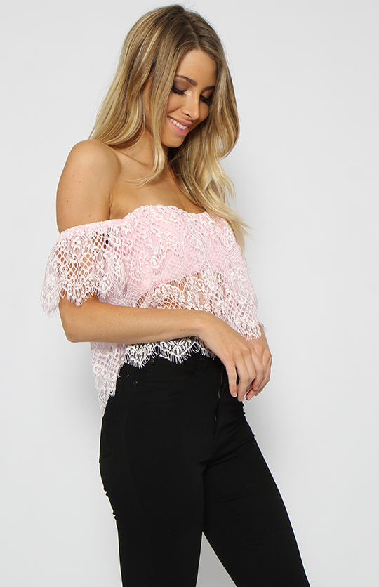 Honeywell Crop Pink Off The Shoulder From Peppermayo