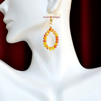 Yellow and orange hoop earrings ** Free shipping within the US** Crystal earrings, dangle earrings
