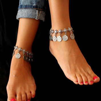 Bohemian Belly Dance Turkish Silver Antalya Coin  Anklet Barefoot Sandal