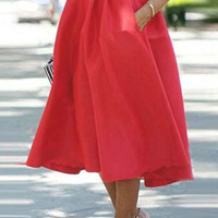 Cupshe Set Me on Fire Solid Red High-waisted Swing Skirt