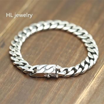 925 Sterling Silver Jewelry Bracelets for Women Men Vintage S925 Width 9mm Solid Thai Silver Chain Charms Bracelets & Bangles