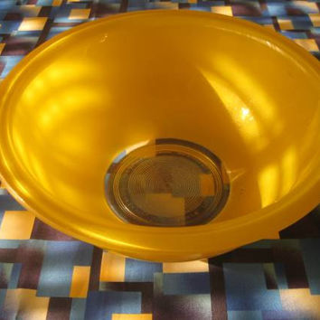 Yellow Pyrex Bowl Clear Bottom and Inside Vintage