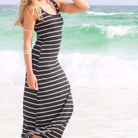 Look My Way Black And White Stripe Racerback Maxi Dress