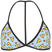 Pizza and Hearts Triangle Bra - Multi