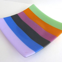 Fused Glass Plate in Bright Spring Stripes