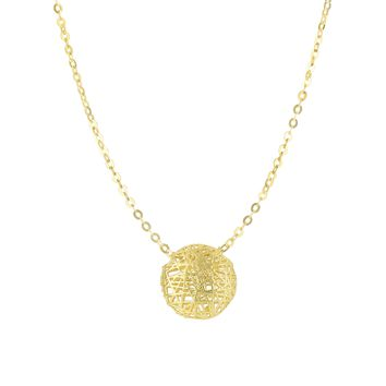 14K Yellow Gold 9.7mm Textured Puffed Circl e Pendant On 1.15mm Fancy Oval Link Necklace with Spring Ring Clasp