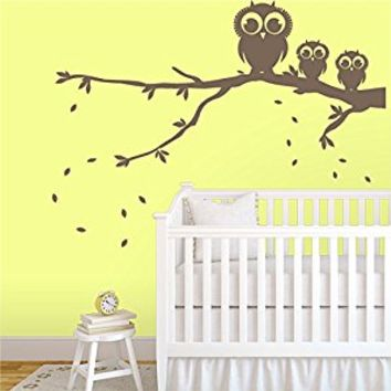 Wall Decal Vinyl Sticker Decals Art Decor Design 3 Funny Owls Branch Foliage Tree Mother and Babe Nursery Kids Children Family Love(r388)