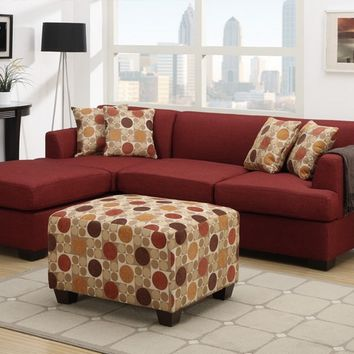 2 pc jaimeson ii collection dark red blended linen fabric upholstery sectional sofa set with reversible chaise