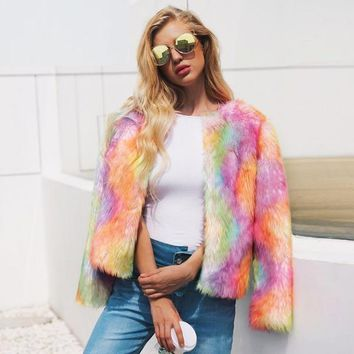 Women's Rainbow Faux Fur Coat