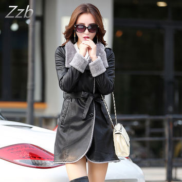 European women leather fur windbreaker long fur collar female down cotton imitation sheep leather fur coat Cuero abrigo de piel