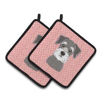 Checkerboard Pink Schnauzer Pair of Pot Holders BB1206PTHD
