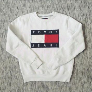 Tommy Hilfiger Women Casual Logo Printed Top Sweater Pullover Sweatshirt