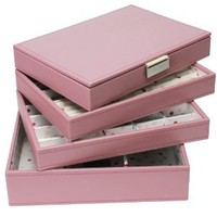 STACKERS Set of 4 'CLASSIC SIZE' Dusky Pink STACKER Set of 4 Jewelry Box with Spotted Lining.