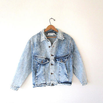 Wms 80's ACID WASHED Denim East West Cropped Jean Jacket Sz S