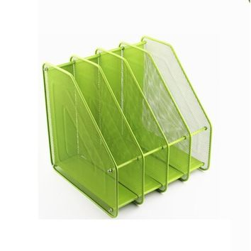 Chris-Wang Assemble Mesh Desk Organizer Office Supply Caddy Paper Holder Desktop File Document Rack with 4 Upright Sections, Green