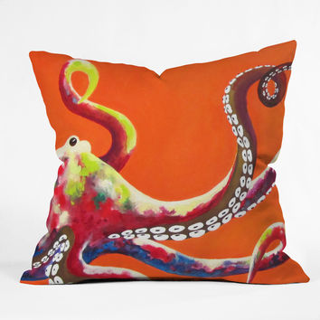 Clara Nilles Jeweled Octopus On Tangerine Throw Pillow