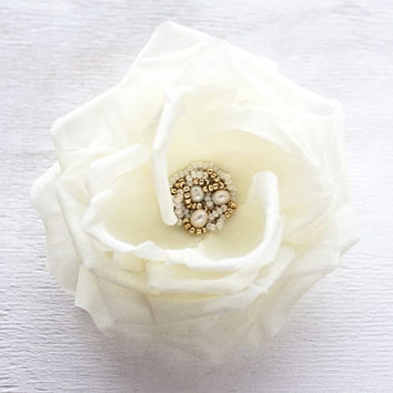 Big rose, Ivory hair flower, Bridal hair flower, Wedding hair accessories, Hair rose, Silk rose, Bridal hair rose, Mother of the bride gift.