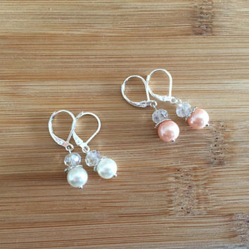 Bridesmaid Classic Glass Pearl Sterling Silver Earrings - 925 Sterling Silver French Hooks - Bridal Gifts