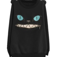 LookbookStore Black Women Coloured Zip Mouth Smile Shoulder 3D Ear Cat Front Jumper Sheatshirt Top US 6 - US 8