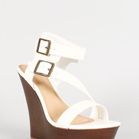 Bamboo Faux Wood Double Buckle Strappy Wedge Color: White, Size: 10