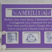 Purple Baby Nursery Decor, Personalized Baby Picture Frame, Custom Children Lilac Photo Frame